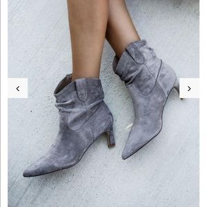 Shoes - faux suede heeled scrunched bootie in grey